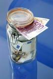 Banconote in un vaso di vetro Immagini Stock Libere da Diritti