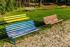 Bancos coloridos - Trebon, República Checa Fotografía de archivo libre de regalías
