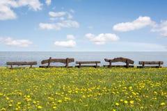 Bancos de madeira na costa de mar imagens de stock royalty free