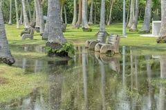 Bancos de parque que vadean en agua foto de archivo
