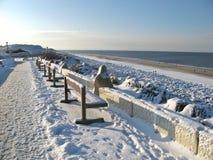 Bancos del invierno de Sylt Fotografía de archivo