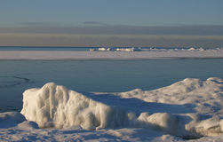 Bancos do gelo na costa de mar Fotografia de Stock Royalty Free