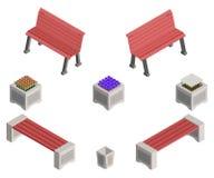 Bancos e camas de flor isométricos com flores Imagem de Stock Royalty Free