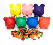 Bancos e feijões coloridos Imagem de Stock