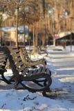 Bancos en Central Park Fotos de archivo libres de regalías