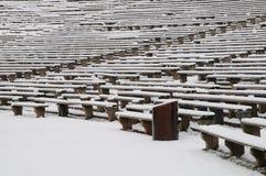 Bancos en el invierno Imagen de archivo libre de regalías