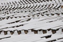 Bancos en el invierno Fotos de archivo