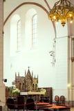 Bancos en iglesia luterana Imágenes de archivo libres de regalías