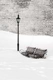 Bancos en la nieve Imagen de archivo libre de regalías