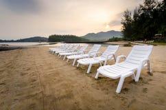 Bancos en la playa Imagen de archivo libre de regalías