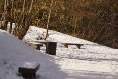 Bancos en un bosque cubierto con nieve Foto de archivo