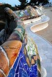 Bancos famosos do mosaico de Gaudi no parque Guell Imagens de Stock