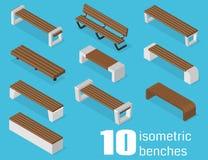 Bancos isométricos fijados Imagen de archivo libre de regalías