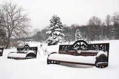 Bancos no inverno Fotografia de Stock