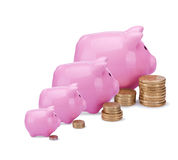 Bancos piggy cor-de-rosa Fotografia de Stock Royalty Free