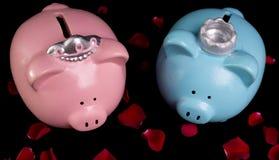 Bancos Piggy do rei & da rainha Foto de Stock
