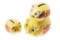 Bancos Piggy dourados chineses fotografia de stock royalty free