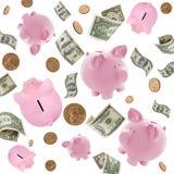 Bancos Piggy e vôo americano do dinheiro sobre o branco Imagem de Stock