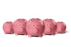 Bancos Piggy em uma linha Fotos de Stock