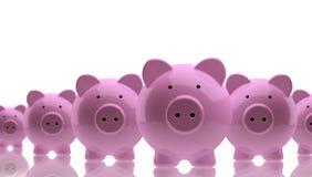 Bancos Piggy, muitos Imagens de Stock