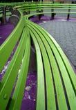 Bancos verdes fotografía de archivo