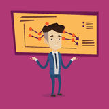 Bancrupt business man vector illustration. A stressed businessman with spread arms standing on the background of board with decreasing chart. Bancrupt business Stock Images