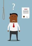 Bancrupt businessman thinking about debt noose. Depressed african american businessman choosing between debt noose and bankruptcy. Difficult choice or financial Stock Photography