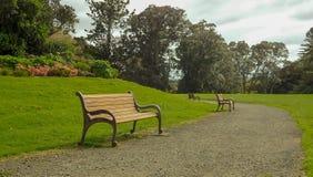 Bancs de parc en bois Photo libre de droits