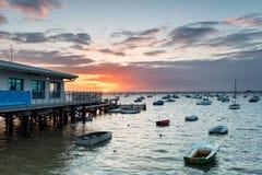 Bancs de sable dans le port de Poole Photos libres de droits