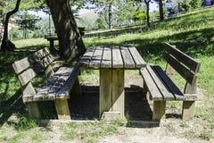 Bancs en bois et une table dans les bois Photo libre de droits