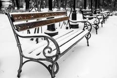 Bancs en parc avec la neige 2 Image libre de droits