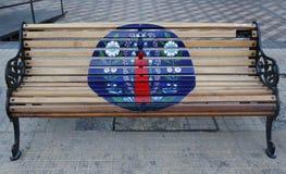 Bancs peints de Santiago dans Las Condes, Santiago de Chile Image stock