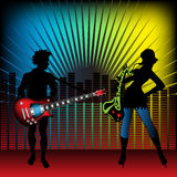 The band. Abstract colorful illustration with young attractive woman playing at the saxophone and a young man playing the guitar. Young band playing in a modern Royalty Free Stock Image
