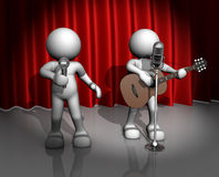 Band. 3d people - man, person with a acoustic guitar. Guitarist on stage at a microphone. Band stock illustration