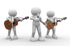 Band. 3d people - man, person with a acoustic guitar. Guitarist on stage at a microphone. Band vector illustration