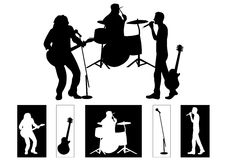 Band. Musicians - silhouettes Part of my musicians series royalty free illustration