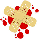 Band aid. Vector drawing of a bloody band aid stock illustration