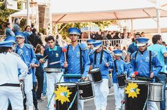 Band from APAE parading at the celebration of the 119 years of. Campo Grande, Brazil - August 26, 2018: Civic Parade desfile civico at 13 de Maio street. Band royalty free stock image
