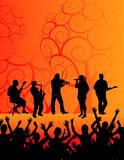 Band and audience. Vector illustration of a live band performing before  enthusiastic audience Royalty Free Stock Images