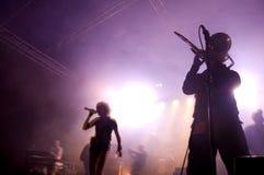 Band auf Stufe am Konzert. Lizenzfreies Stockbild