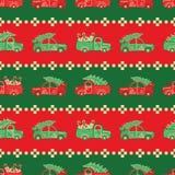 Band av jullastbilar i vektormodell för röda och gröna färger royaltyfria bilder