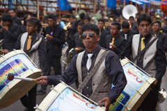 Band of a Caporales dance group at the Oruro Carnival in Bolivia Stock Photos