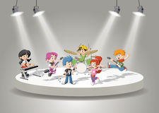 Band with cartoon children playing rock'n'roll Royalty Free Stock Photography