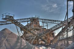 Band conveyor at a gravel pit Royalty Free Stock Image