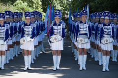 Band-drummer girls preparing for the procession Royalty Free Stock Images