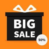 band för bowaskgåva Närvarande giftbox Stor affisch för baner för försäljningshalloween advertizing Rund cirkel 50 procent av kli vektor illustrationer