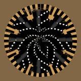 Band för film för grunge för tappning för vektor abstrakt retro runda formade Arkivfoto