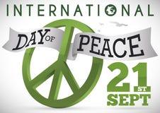 Band för fredsymbol och gräsplanför internationell dag av fred, vektorillustration Vektor Illustrationer