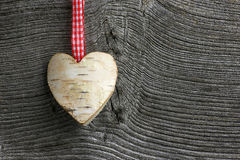 Band för gingham för hjärta för vit björk för garnering för glad jul Royaltyfria Foton