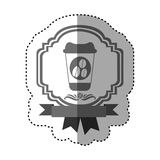 band för gräns för grå skala för klistermärke heraldiskt dekorativt med glass disponibelt för varma drinkar med locket Arkivbild